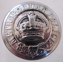 METROPOLITAN POLICE BUTTON Very Unique British London Vintage Chrome Button - $9.99