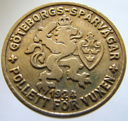1924 SWEDEN TRAM TOKEN Gothenburg general public transportation adult brass jett