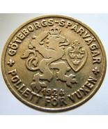 1924 SWEDEN TRAM TOKEN Gothenburg general public transportation adult br... - $9.99