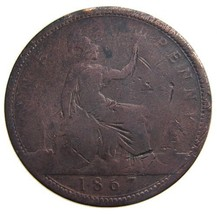 ANTIQUE 1867 Over 140 Years Old GREAT BRITAIN Victoria 1 Penny large Bro... - $6.99