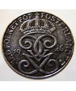 1946 SWEDEN CROWNS COIN over 65 Years Old Swedish Kingdom King Gustav V ... - $14.99