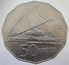 1975 FIJI SAILING CANOE over 35 Years Old Fiji Queen Elizabeth 2nd Takia 50 Cent - $9.99