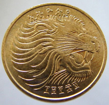 Vintage ETHIOPIA LION COIN 5 Cent lion head farmer Nickel Brass Coin Cha... - $14.99