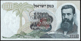 Vintage over 40 years old 1968 ISRAEL One Hundred Pounds Bank Note Theod... - $14.99