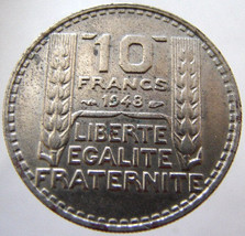 1948 FRANCE LIBERTE COIN over 60 Years Old French Fourth Republic 10 francs Copp - $9.99