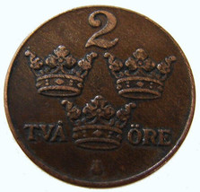 1934 SWEDEN CROWNS COIN over 75 Years Old Sweden Ruler Gustaf 5th 2 ore Bronze C - $14.99