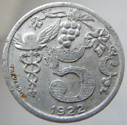 1922 FRANCE RETAILERS TOKEN Traders and industrial Union 5 Centimes jetton Old F