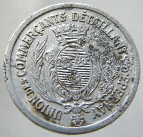 1922 FRANCE RETAILERS TOKEN Traders and industrial Union 5 Centimes jetton Old F image 2