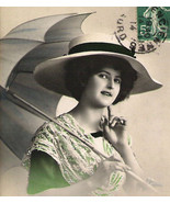 French Young Woman W/Big HAT and UMBRELLA Antique unique Tinted Original Post Ca - £9.31 GBP