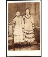 POST MORTEM PHOTO Antique Black and white two sisters real photo Card De... - $24.99
