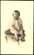 Cute Little Girl Sitting Great Stool Chair Antique real photo Photograph... - $7.99