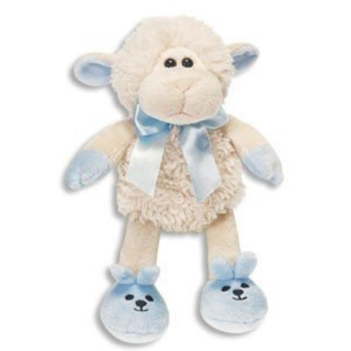 Fiesta Super Soft Baby Boy Lamb Plush 7 - w/Blue Bow & Slippers - It's A Boy!
