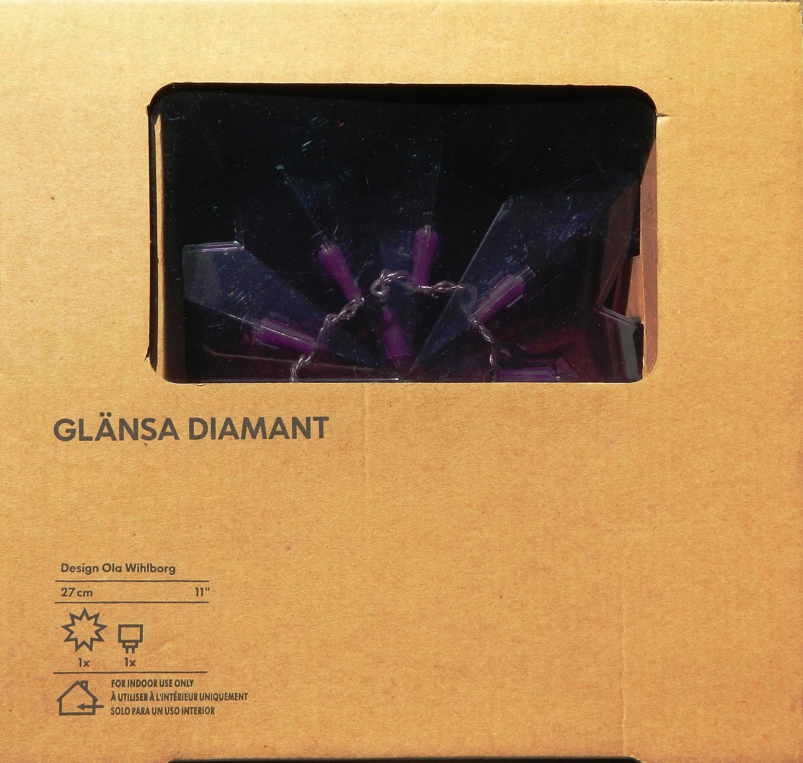 Ikea Glansa Holiday Purple Diamond Star LED Lamp NEW IN BOX - 2007
