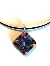 Hand Blown Venetian Murano Glass Square Pendant Necklace - $35.00