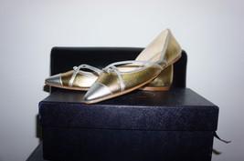 $495+TAX NEW Prada Gold/Silver Leather Bow Flats Sz IT39.5/ US 9 - $175.00