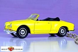 CUSTOM KEY CHAIN YELLOW & BLACK VW VOLKSWAGEN KARMANN GHIA CABRIOLET CON... - $28.98