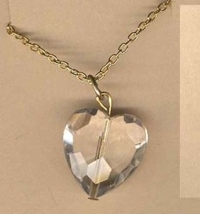 HEART NECKLACE PENDANT-Faceted Faux CRYSTAL Princess Love Charm Costume ... - $5.97