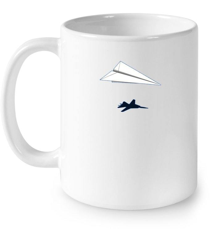 Paper Airplane Shadow F 14 Tomcat Ceramic Mug