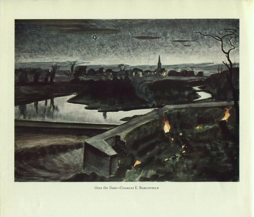 Charles E Burchfield. Over the Dam. Vintage American Artists 1940 print.