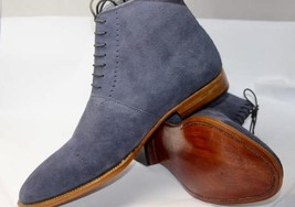 Handmade Men's Blue Suede Two Tone High Ankle Lace Up Boots image 2
