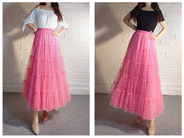 Women Tiered Long Skirt Outfit High Waisted Layered Yellow Tulle Skirt image 12