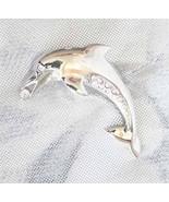 Art Moderne Crystal Rhinestone Dolphin Brooch 80s - $12.69