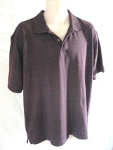 Arrow Wine Plaid Polo Shirt  Regular Size Large  Short Sleeve Cotton Blend - $10.57