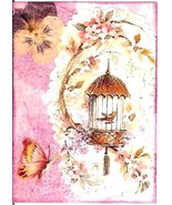 ACEO ATC Art Collage Print Serenity Birdcage Butterfly Pansy Inspirational - $2.75