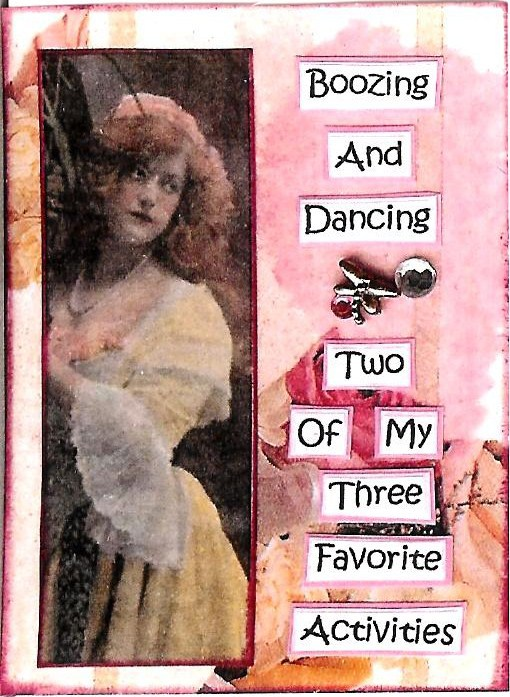 Primary image for ACEO ATC Art Collage Print Women Ladies Booze Dance Favorite Activity Humor
