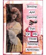 ACEO ATC Art Collage Print Women Ladies Booze Dance Favorite Activity Hu... - $2.75