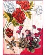 ACEO ATC Art Collage Print Garden Fairy Fairies Red White Flowers - $2.75