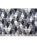 1/2 yd music/black white & gray diamonds quilt fabric - $13.50