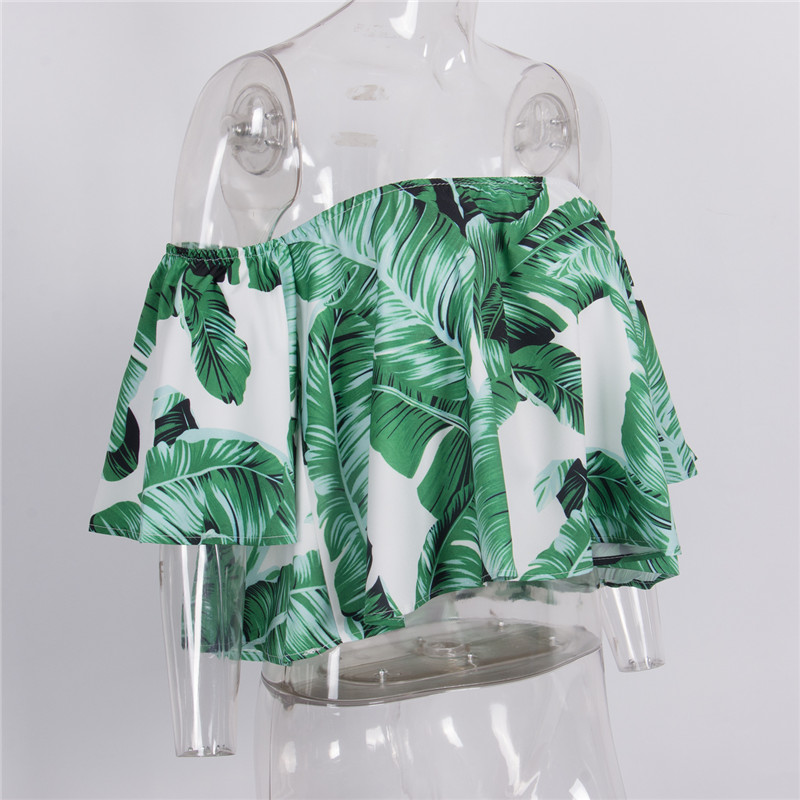 Leaf Print Off Shoulder Crop Tops Summer Casual Sexy Green Flare Sleeve - $21.00