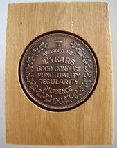 4 YEARS AWARD PLAQUE good conduct punctuality Vintage Bronze medal woode... - $14.99