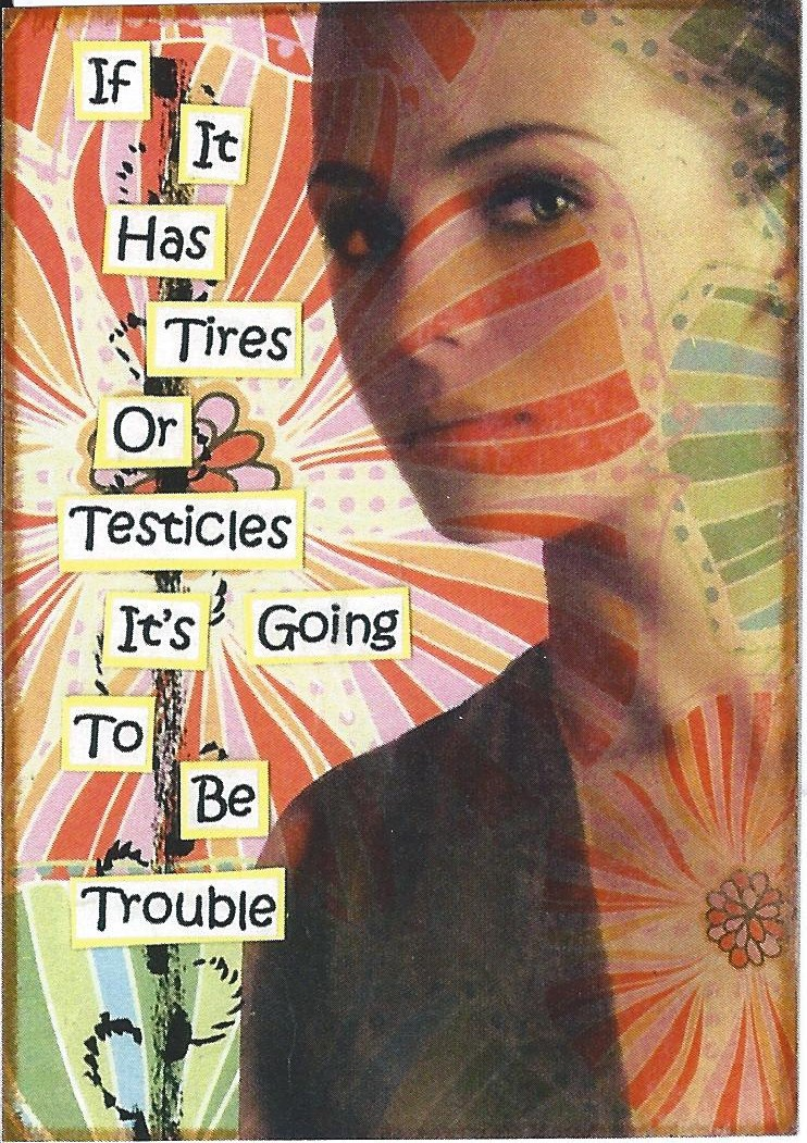 Primary image for ACEO ATC Art Card Collage Print Women Has Tires Testicles Going To Be Trouble