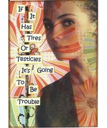 ACEO ATC Art Card Collage Print Women Has Tires Testicles Going To Be Tr... - $2.75