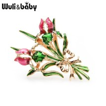 Wuli&baby Enamel Double Rose Brooch Pins For Women Valentine's Day Gift ... - $23.40