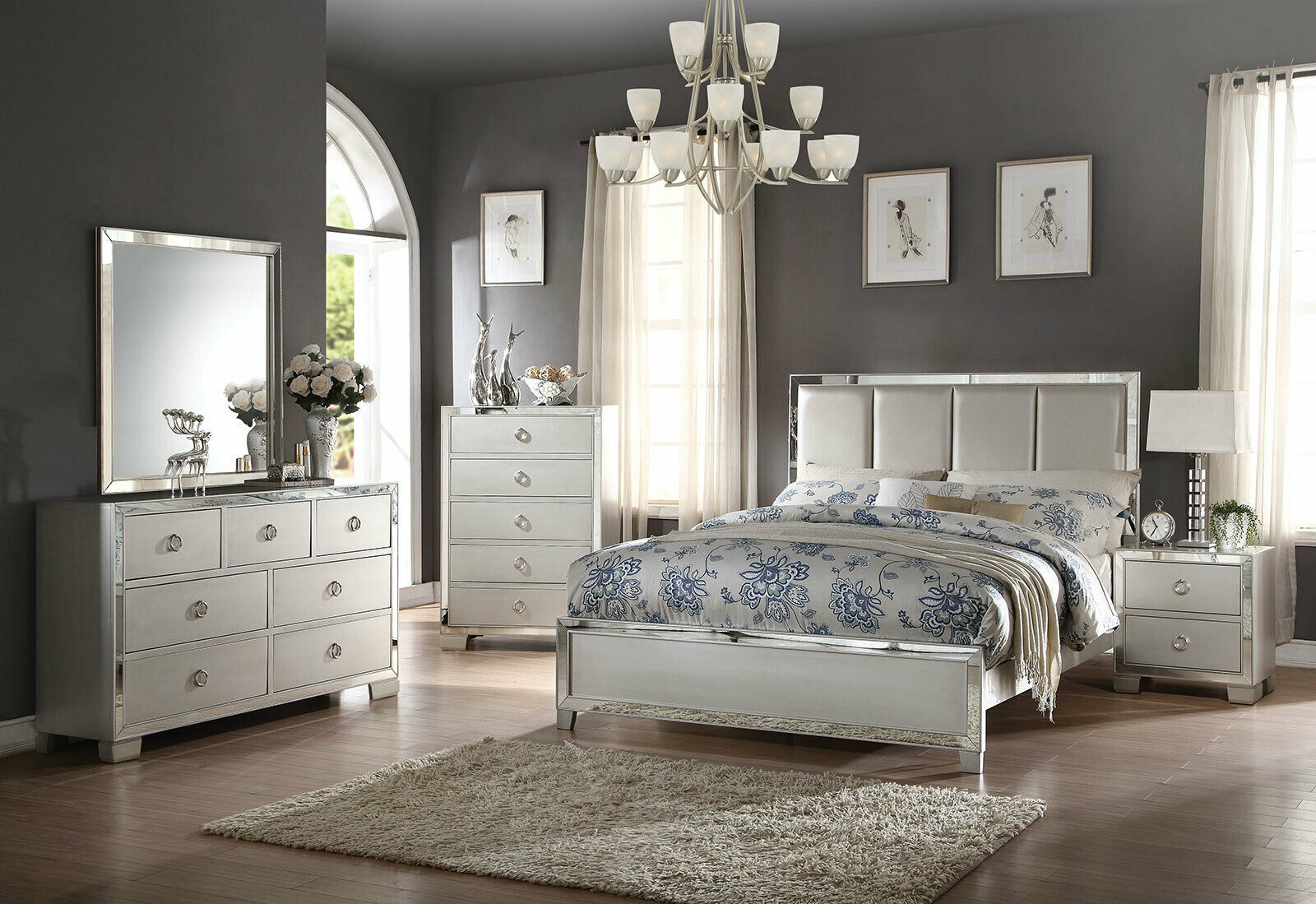 New transitional style platinum bedroom furniture harlan - Transitional style bedroom furniture ...