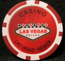 """N/D Red """"Welcome To Las Vegas"""" Casino Chip - (sku#2252) - $2.29"""