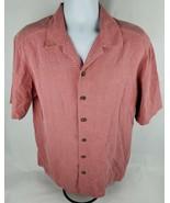 John Ashford Mens Hawaiian Shirt Sz L Lg 100% Silk Red Cross Striped - $11.40