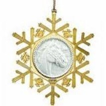 Breyer Brass and Fine Porcelain snowflake Ornament  with Horse head - $8.77