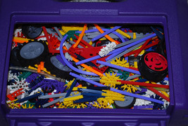 K'Nex Building Toys LOT Set Plastic Purple Carry Storage Case Vehicles W... - $34.60