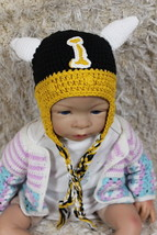 Handmade Black Vikings Hat Knit Crochet Infant Baby Child Kids Hat Cap B... - $8.99