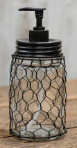 Rustic CHICKEN WIRE SOAP LOTION DISPENSER Farmhouse Country Glass Jar Ba... - $38.99