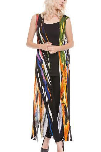 Adore Long Hand-Painted Black/Gold/Orange Multi-Color Duster - EXTRA 10% Off!