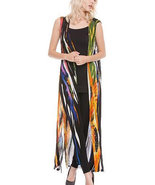 Adore Long Hand-Painted Black/Gold/Orange Multi-Color Duster - EXTRA 10%... - $62.90