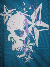 Skull and Stars Turquoise T-Shirt Size Large L Jerzees Heavyweight Cotton - $3.50