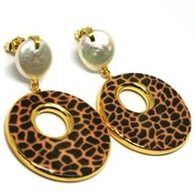 Ohrringe Silber 925 Anhänger Perlen Barock-Stil Flache, Ovale Optik Leopard - $188.92