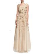 Aidan Mattox Scoop Neck Sleeveless Zipper Ruched Embellished Mesh Dress, - $129.99