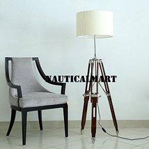 Handloom Textured Stryipes White Fabric Shade Wooden Tripod Floor Lamp B... - $197.01